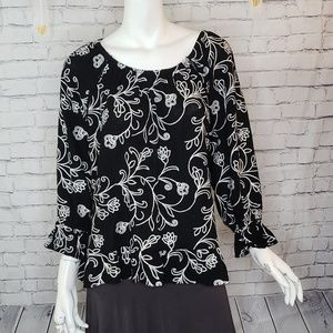 INC Black and White Embroidered Blouse